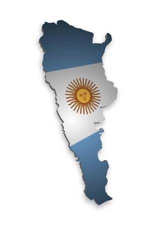 flag of argentina: Contorno 3D de la Argentina con bandera