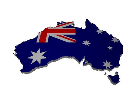 3D outline of Australia with flag photo