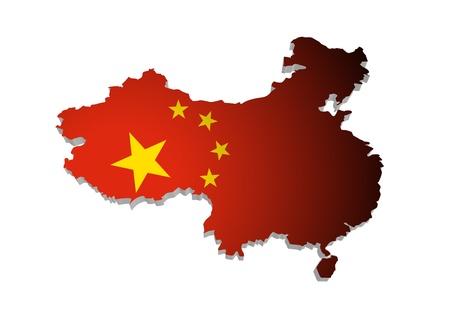 mapa china: Contorno 3D de China con bandera Foto de archivo
