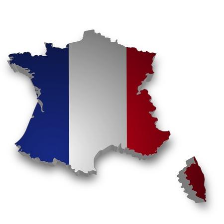 bandera francia: Contorno 3D de Francia con la bandera Foto de archivo
