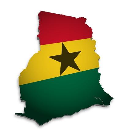 ghana: 3D outline of Ghana with flag Stock Photo