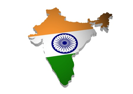 bollywood: 3D outline of India with flag