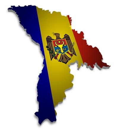 moldova: 3D outline of Moldova with flag Stock Photo