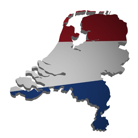 3D outline of the Netherlands with flag photo