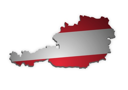 3D outline of Austria with flag photo