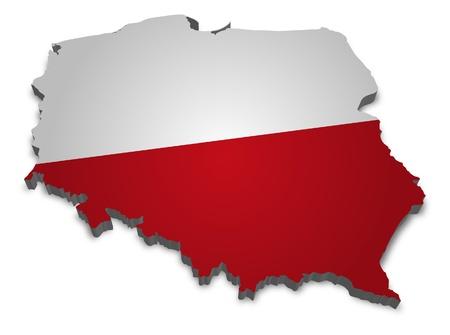 bandera de polonia: Contorno 3D de Polonia con bandera