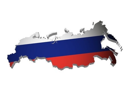 russian federation: 3D outline of Russia with flag