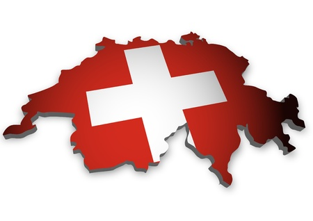 swiss flag: 3D outline of Switzerland with flag