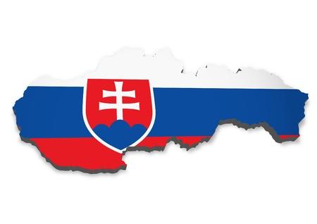 slovakia flag: 3D outline of Slovakia with flag