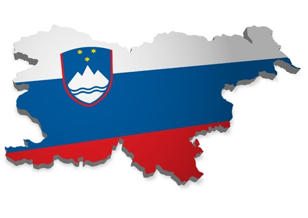 3D outline of Slovenia with flag photo