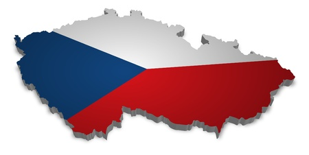czech republic: 3D outline of Czech Republic with flag Stock Photo