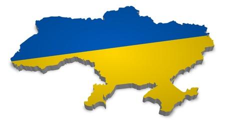 ukrainian flag: 3D outline of Ukraine with flag