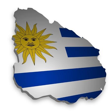 bandera de uruguay: Esbozo 3D de Uruguay con bandera Foto de archivo