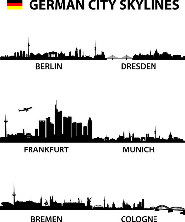 frankfurt: detailed illustration of the german cities Berlin, Bremen, Cologne, Dresden, Frankfurt am Main and Munich Illustration