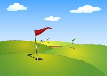play golf: illustration of a green golf course with flags Illustration