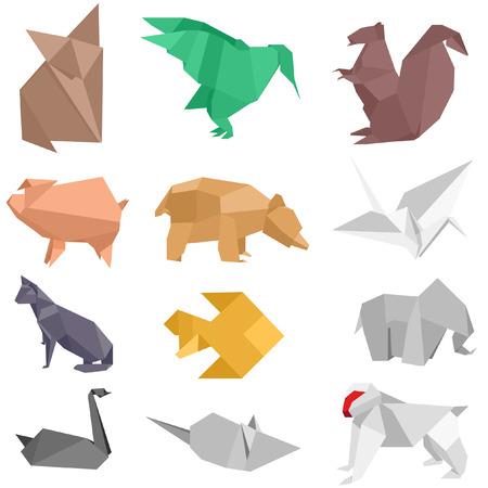 silueta mono: ilustraciones de papiroflexia-estilo de animales