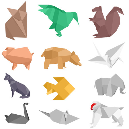 squirrel isolated: origami-style illustrations of different animals Illustration