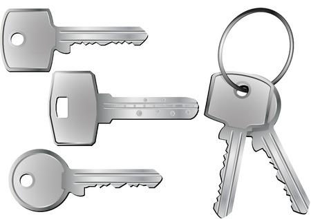 keyring: illustration of different kind of keys with and without keyring