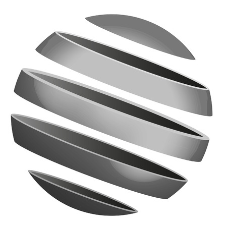 illustration of a sliced metallic sphere Vector