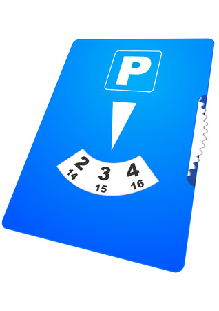 Illustration of a blue parking disc with perspective