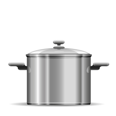 stainless steel kitchen: detailed illustration of a pot for cooking Illustration