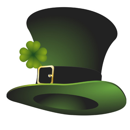stovepipe hat: illustration of a green St. Patricks stovepipe hat Illustration