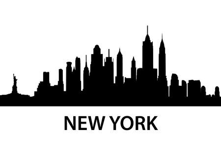 manhatten skyline: detaillierte Silhouette von New York City Illustration