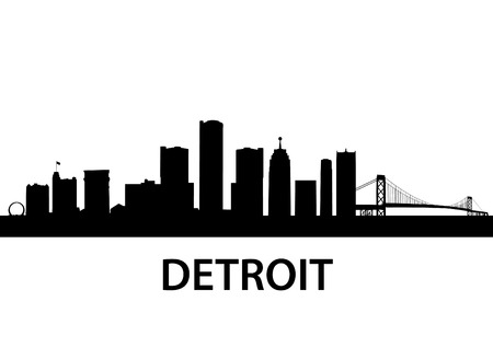 waterfront: detailed silhouette of Detroit, Michigan Illustration