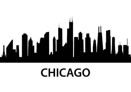 city skyline night: detailed silhouette of Chicago, Illinois Illustration