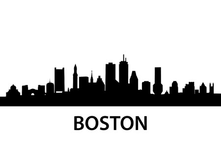 detailed silhouette of Boston, Massachusetts
