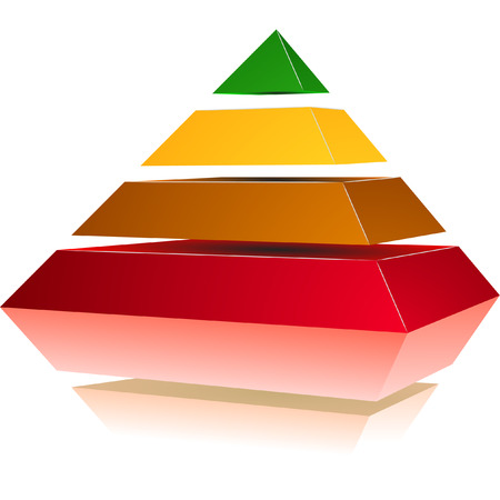 illustration of a pyramid with four colored levels Vector