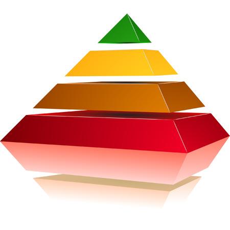 construction management: illustrazione di una piramide con quattro livelli colorati Vettoriali