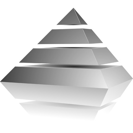 illustration of a pyramid with four levels Stock Illustratie