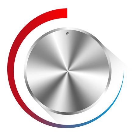 wijzerplaat: illustratie van een metalen bedieningsknop gebruikt voor de regulering van