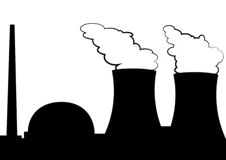 powerplant: illustratie van een kerncentrale Stock Illustratie