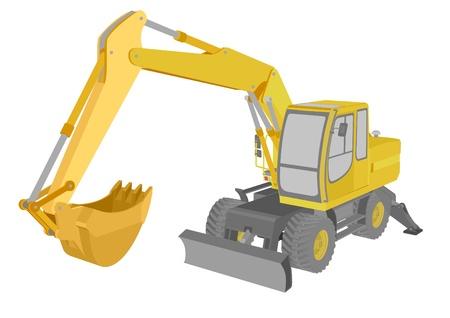 yellow tractor: ilustraci�n detallada de una excavadora