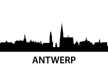 detailed illustration of Antwerp, Belgium Vector