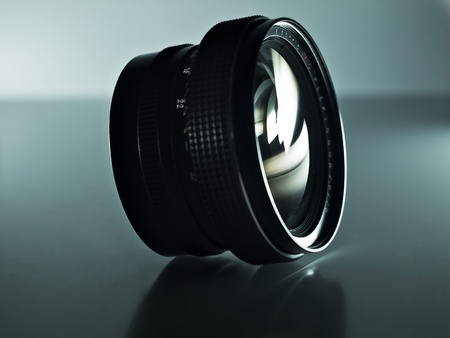 analogue: analogue wide angle lens on a glossy surface