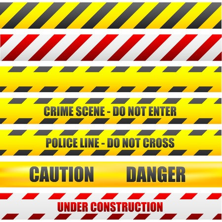 scene of a crime: illustration of different caution lines