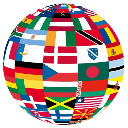 united nations: Ilustraci�n de un globo lleno de diferentes banderas