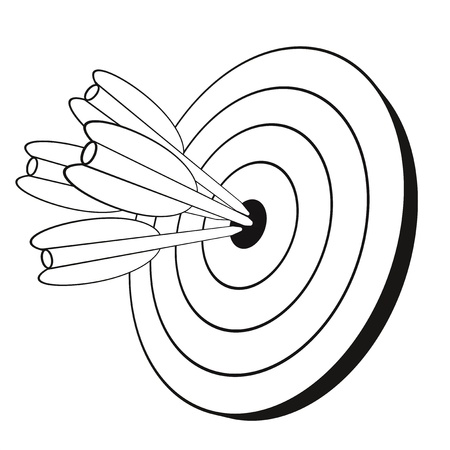 dart board: illustration of various arrows hitting a round target