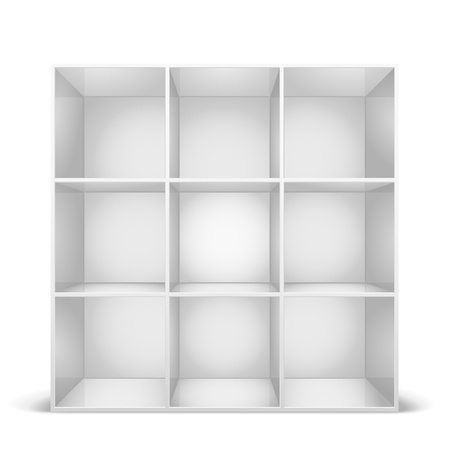detailed illustration of a glossy white bookshelf Vector