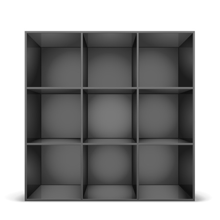 detailed illustration of a glossy black bookshelf Vector