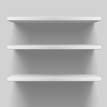 exhibition display: detailed illustration of white shelves with light from the top