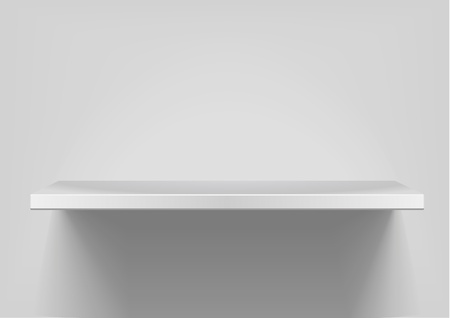detailed illustration of white shelf with light from the top Vector
