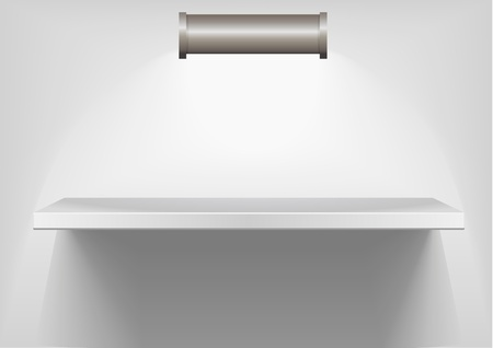 detailed illustration of white shelf with light from the top Stock Vector - 9979382