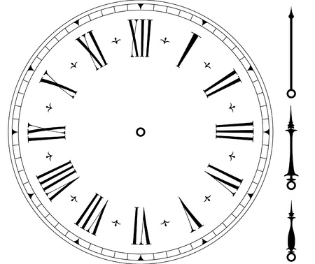 clock hands: illustration of an old clock face