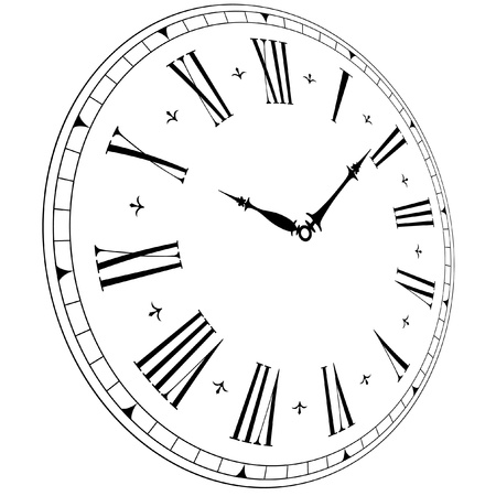 midnight hour: illustration of an old clock face with perspective angle