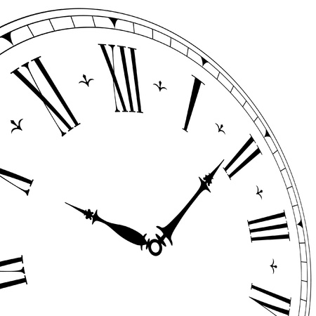 detailed illustration of an old clock face with perspective angle