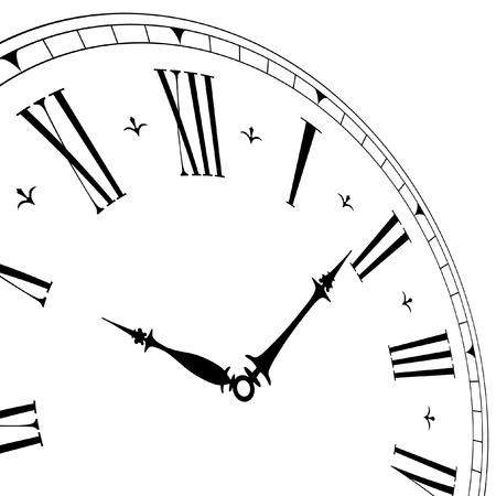 orologi antichi: illustrazione dettagliata di un quadrante di orologio vecchio con angolo di prospettiva